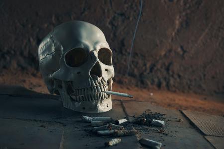 Smoking kills concept, portrait of a smoking skull Banco de Imagens