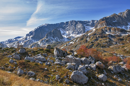 fisht: The autumn stones. The red robe of birches revived mountain rock moraine