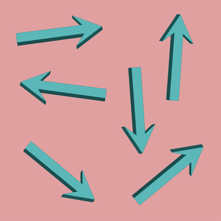 semitransparent: Bulk blue arrows on a pink background in different directions Illustration