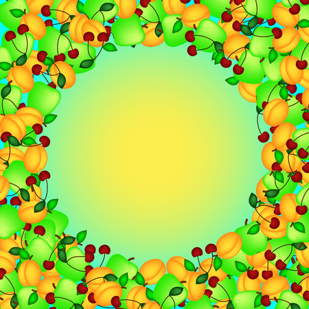 Frame made of apricots and cherries around the sun.
