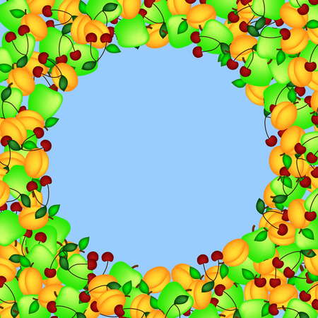 Frame of fruit on a blue background in the form of a circle