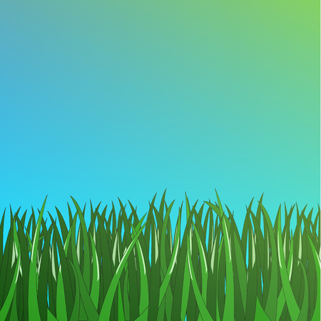 simple green grass on simple blue background Illustration