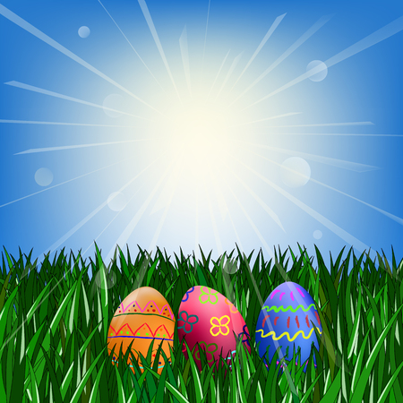 Easter eggs on the green grass against the blue sky with the sun Illustration