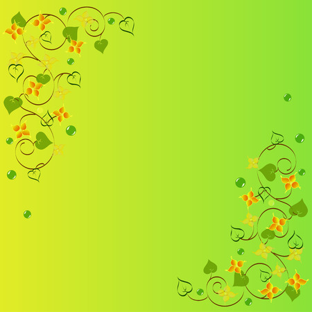 background of abstract flowers and leaves, calligraphy