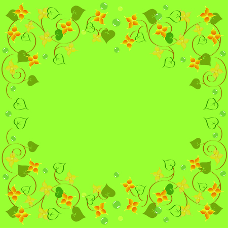 frame floral ornament with leaves on green background