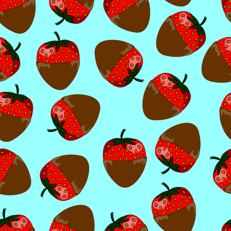 seamless pattern of red strawberries in milk chocolate Illustration