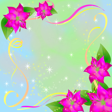 spring background of purple flowers with leaves with ribbons . pastel