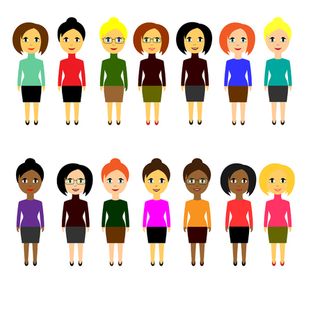 skill: Set of various business people of different nationalities. Simple flat style on white background