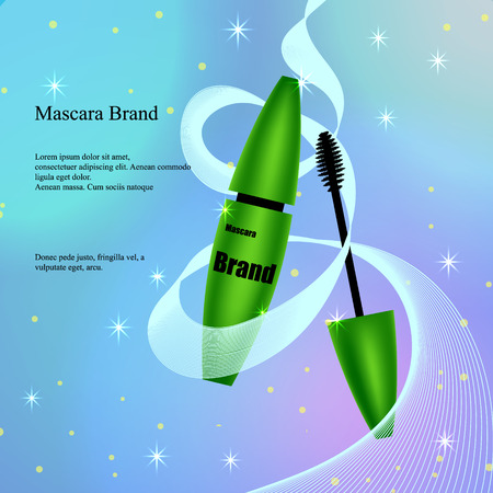 Mascara with brush in green, a poster, a banner on a light delicate background with patches Çizim