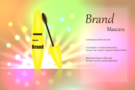 Yellow mascara brush for eyelashes for eye makeup on delicate multi-colored background with bright spots of light. text, poster, banner, catalogue. Realistic 3D vector illustration Illustration
