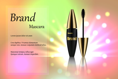 Black with a gold mascara brush for eyelashes for eye makeup on delicate multi-colored background with bright spots of light. Advertising, text, poster, banner, catalogue. Realistic 3D vector illustration