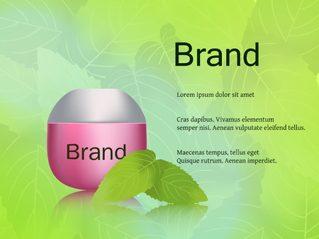 grooming: The design of cosmetics, skin cream, light, fresh green background with mint leaves. Advertising, brand, banner. 3D vector realistic