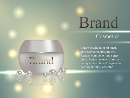 dimensional: Cosmetics cream in a gentle light background with pearls. Advertising, banner, poster, catalog, vector realistic 3D