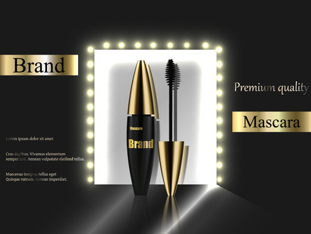 reflection in mirror: The design of cosmetics, black mascara with a gold cap and lights on a dark background near the mirror reflection, luxury, quality, premium, realistic 3D vector, advertisement, banner, catalogue. Illustration