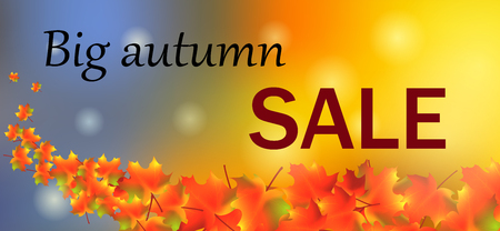 Autumn sale colorful maple leaves. Illustration