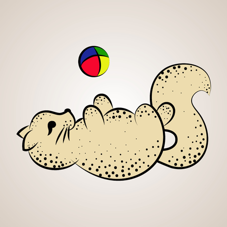 Cat lying on the back and playing with a colorful ball, calligraphy, vector illustration Stock Photo
