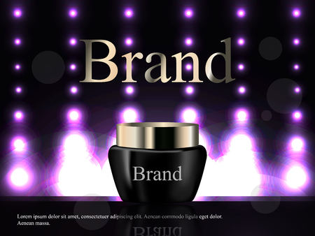 Cream tube on a dark background with bright lights, cosmetics, luxury, advertising, catalog, 3d vector realistic, health, skin care Illustration