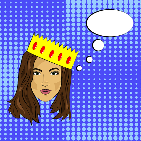Pop art girl with dark hair calm face with a crown of bubbles, vector Illustration