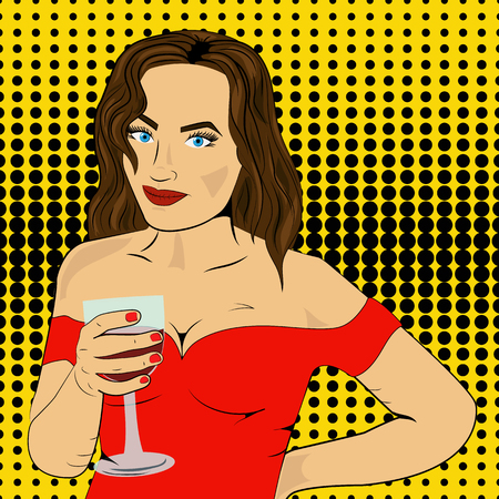 Toast girl party red retro background Illustration