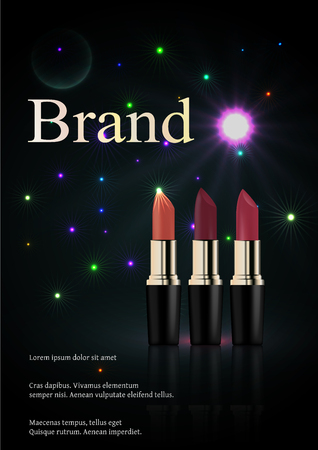 Red lipstick - Cosmetic brand product. Ads of premium female lipstick for women care. Illustration