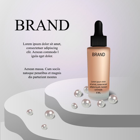 Premium VIP cosmetic ads, hydrating luxury facial cream for sale. Elegant soft pink color cream mask bottle isolated on glitter sparkles with pearls, gloss effect.