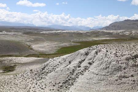 Lunar landscape in Altai. White clay desert. Altai, Russia.