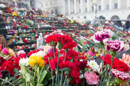 those: Flowers in memory of those killed on Euromaidan