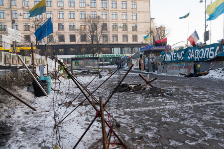 barbed wires: Barbed wires on Independence Square during euromaidan Editorial
