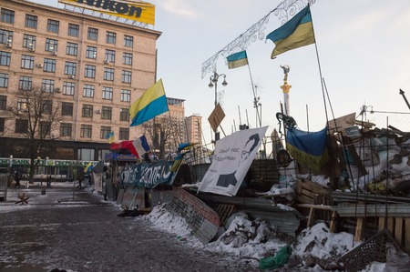 barricades: Barricades on Independence Square during euromaidan