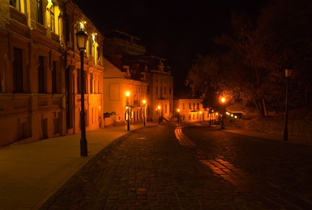 electric avenue: Lights on the night street in Kyiv