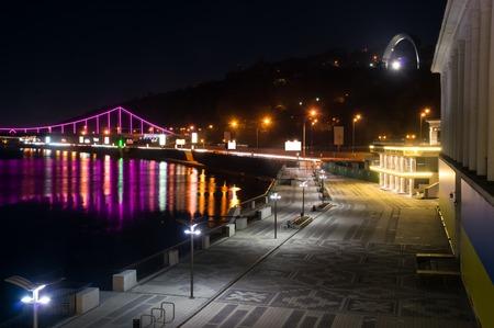 Lights on the Kyiv riverside station at night
