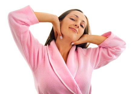 housecoat: Woman in housecoat