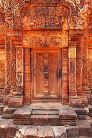 hindu god shiva: Banteay Srei - 10th century Cambodian temple dedicated to the Hindu god Shiva, located in the area of Angkor in Cambodia