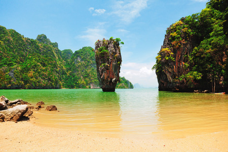 metres: Khao Phing Kan is a pair of islands on the west coast of Thailand, in the Phang Nga Bay, Andaman Sea, near Phuket. About 40 metres from its shores lies a 20 meters tall islet Ko Tapu or Khao Tapu.