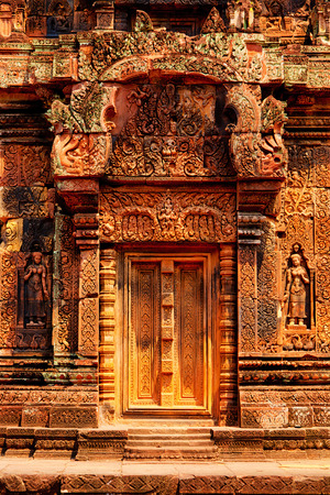 hindu god shiva: Banteay Srei - 10th century Cambodian temple dedicated to the Hindu god Shiva, located in the area of Angkor in Cambodia. It is built largely of red sandstone. Banteay Srei is known for the intricacy of its carvings and saturated colors.