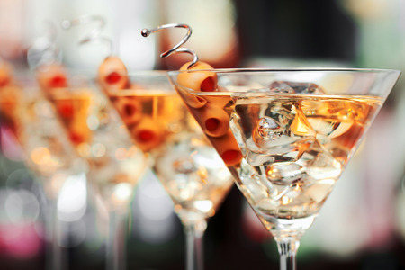martini glasses: Several glasses of famous cocktail Martini
