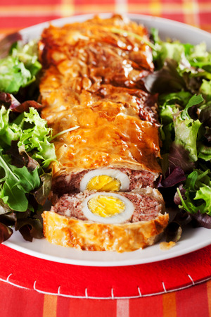 meatloaf: Meatloaf with boiled eggs in puff pastry