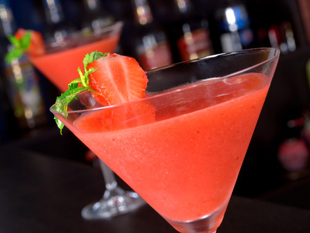 unusual angle: Strawberry Daiquiri Stock Photo