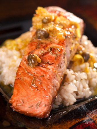 cooked rice: Salmon with capers sauce