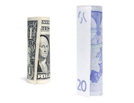Dollar and euro on white Stock Photo