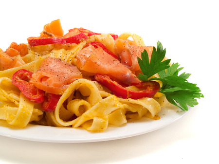 Tagliatelle with Salmon and Peppers