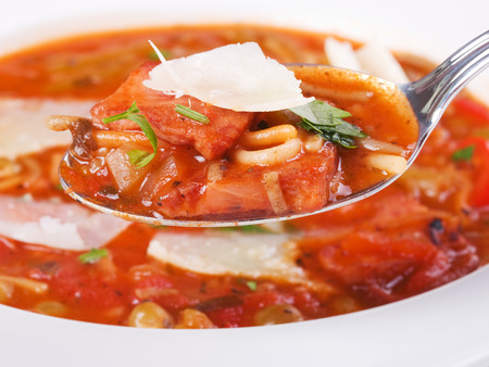 minestrone: Minestrone soup, close up Stock Photo