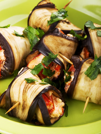upperdeck view: Eggplant rolls filled with cheese, peppers and parsley