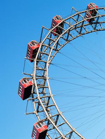prater: Old wheels of Prater - landmark in Vienna Editorial