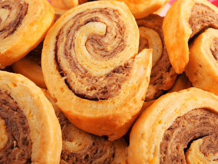 Pinwheel cookies with dried fruits, pecanswalnuts, butter, cinnamon and sugar photo