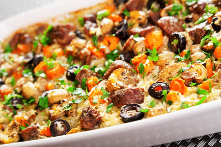 ready to eat: Rice and beef casserole, baked and ready to eat Stock Photo