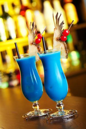 blue hawaiian drink: cocktail  Stock Photo
