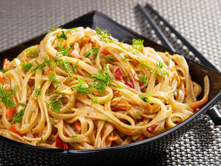 cuisines: Asian noodles with hoisin sauce and peppers Stock Photo