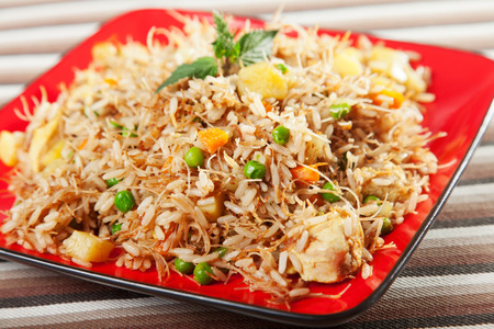 close up food: Chicken Biryani, typical indian food recipe, cooked Stock Photo