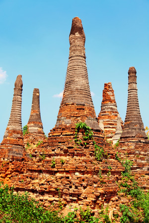 sagar: Stupas in Sagar - 108 stupas from the 16-17 th centuries, near Lake Inle, Myanmar Stock Photo